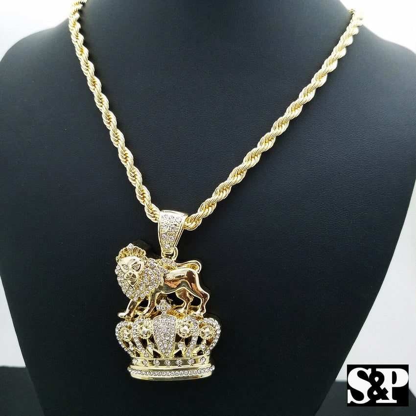 "FULL ICED HIP HOP LION KING CROWN PENDANT & 5mm 30"" ROPE CHAIN NECKLACE"