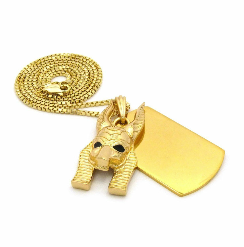 "NEW GOLD PT ANUBIS HEAD DOG TAG PENDANT & 2mm / 30"" BOX CHAIN HIP HOP NECKLACE"