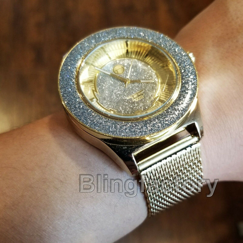Men's Luxury Hip Hop Glittered Gold plated Lab Diamond Metal Mesh Band Watch