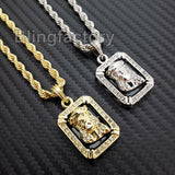"Hip Hop Iced out Fashion Jesus Pendant & 4mm 24"" Rope Chain Necklace"