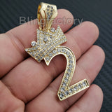 Iced out Fashion 14K Gold plated Lab Diamond 0 ~ 9 Crowned Number Pendant Charm