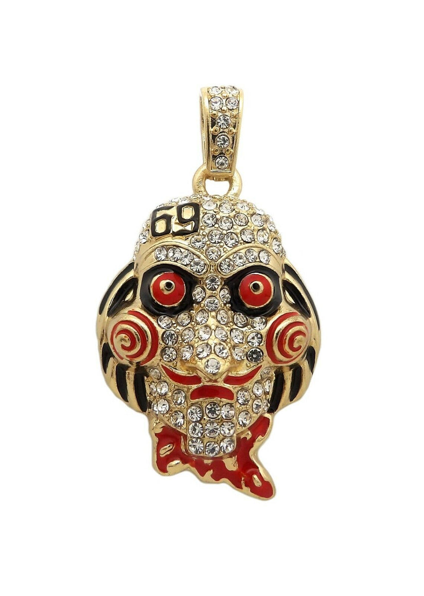 "Iced Out 6ix9ine Saw Inspired & 69 Pendant & 20"" 24"" Cuban Chain Necklace set"