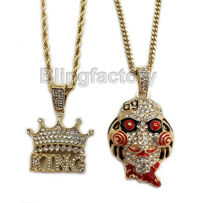 "Iced Jigsaw Inspired & Crowned King Pendant & 20"" 24"" Rope, Cuban Chain Necklace Set"