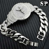 "New Hip Hop White Gold Plated 8.5"" CZ Full Iced Out Baby Angel Cuban Bracelet"