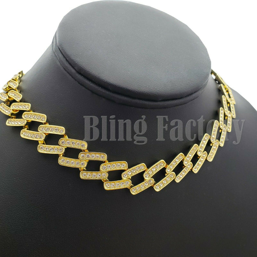 "Hip Hop Rapper's Iced Out 8.5"", 16"",18"", 20"" Prong Miami Cuban Choker Necklace"
