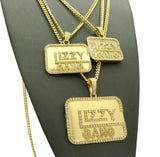 ICED OUT HIP HOP CZ GOLD PT 3 GLIZZY GANG PENDANTS W/ CUBAN CHAINS NECKLACE SET