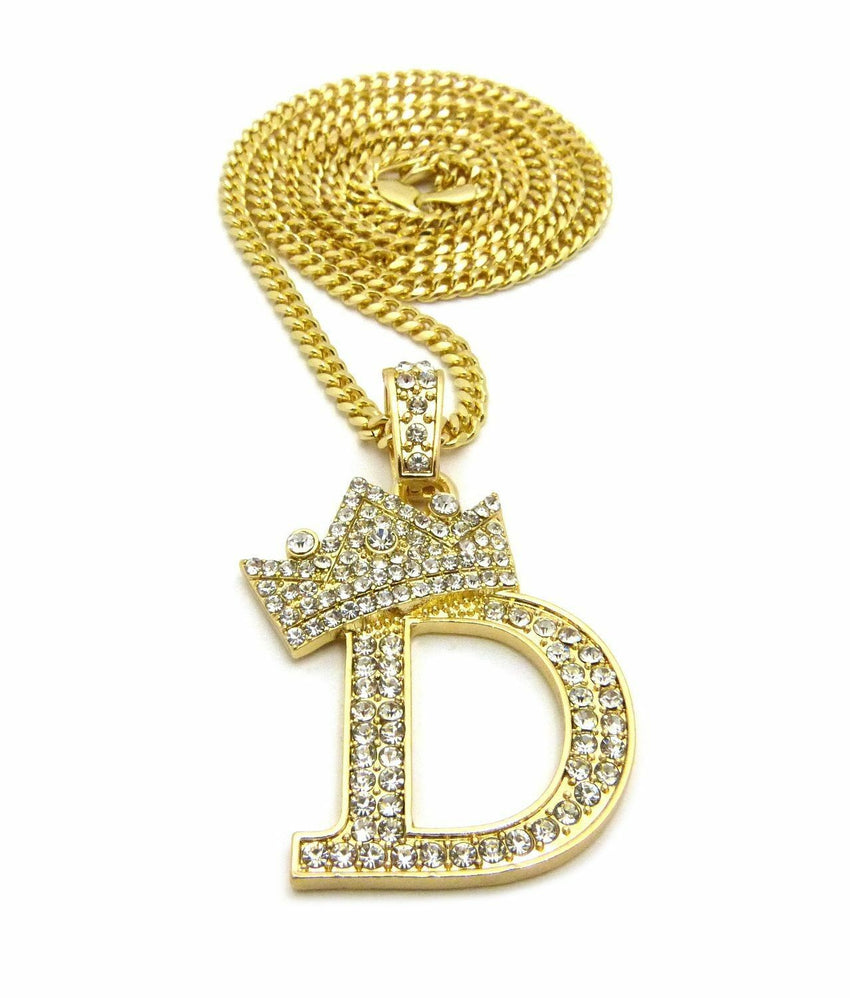 "ICED OUT 14K GOLD PT LETTER D CROWN CZ PENDANT & 24"" VARIOUS CHAIN NECKLACE"