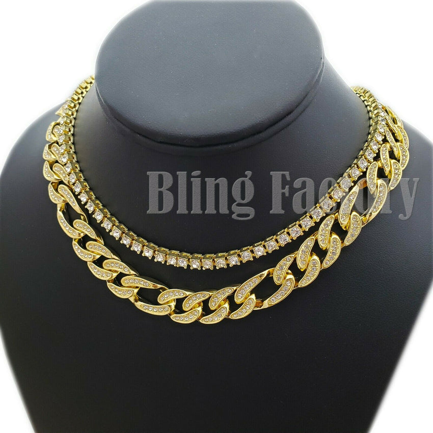 "Hip Hop Iced out Gold plated 18"" Figaro & 1 Row CZ Tennis Choker Chain Necklace set"