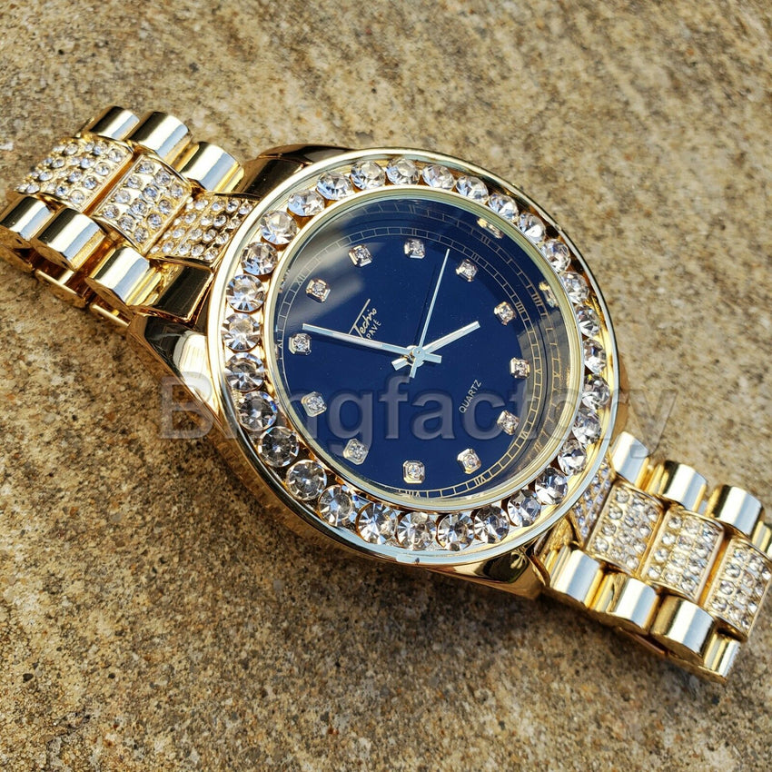 Men Hip Hop Iced out Black Dial Gold PT Migos Bling BIG Simulated Diamond Watch