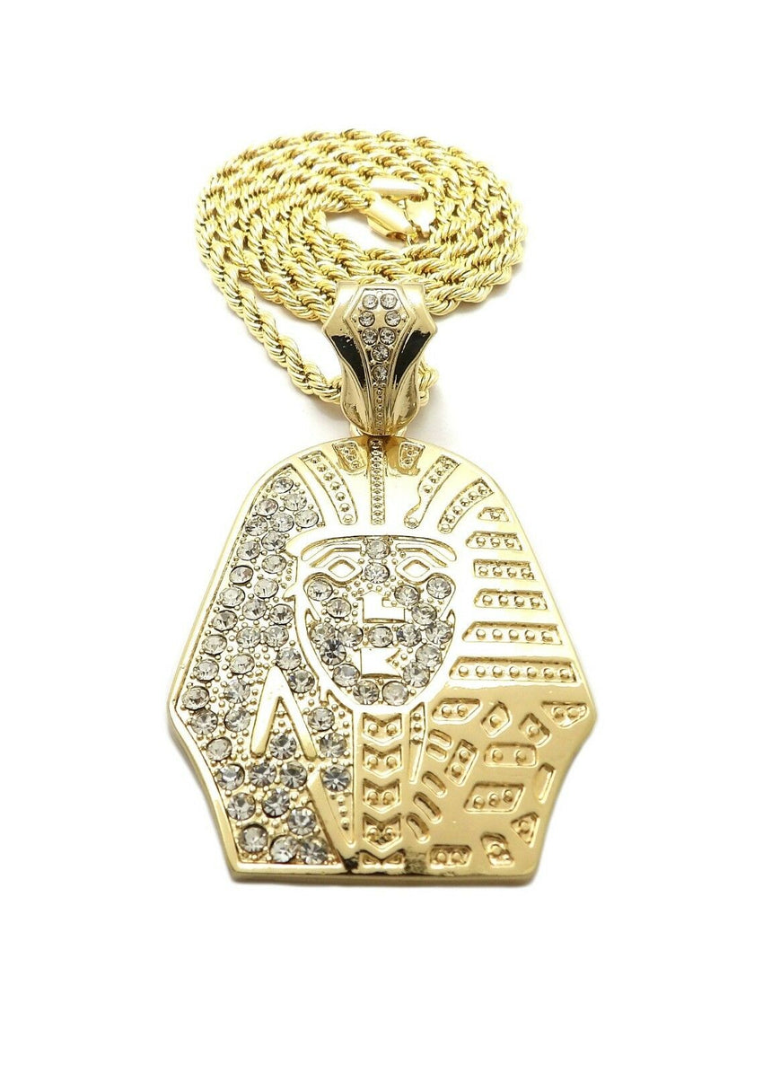 "HIP HOP ICED OUT GOLD PT EGYPTIAN PHARAOH PENDANT & 4mm 24"" ROPE CHAIN NECKLACE"