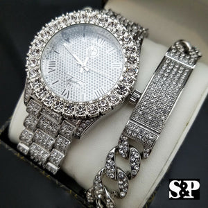 MEN'S ICED OUT HIP HOP WHITE GOLD PT LAB DIAMOND WATCH & BRACELET COMBO SET