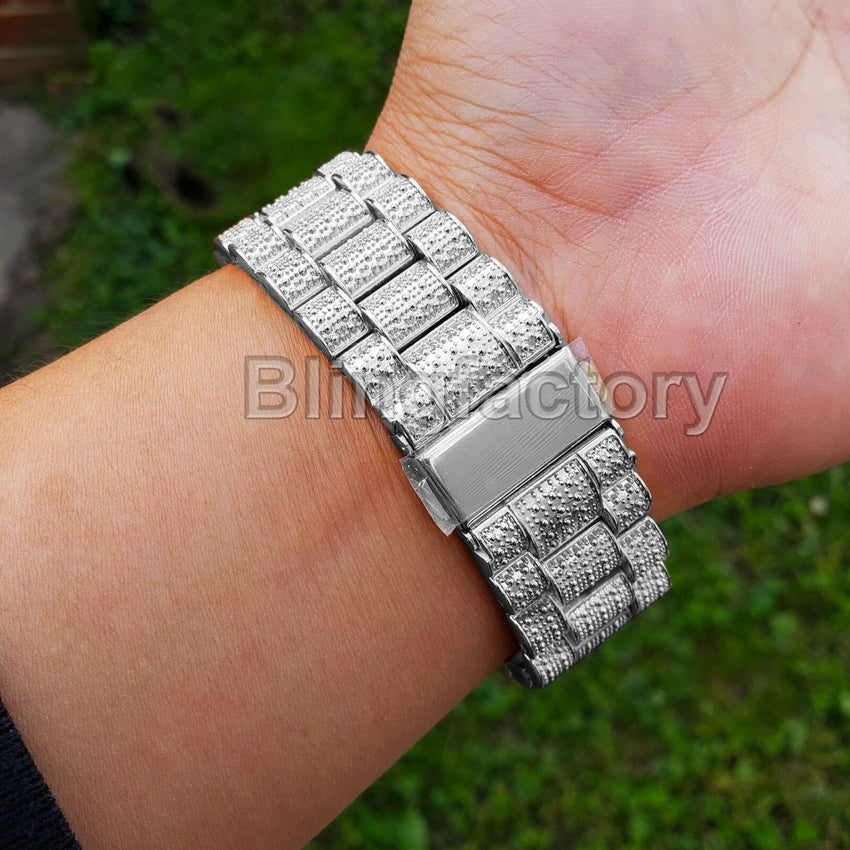 Men's Hip Hop Iced out White Gold PT Rapper Bling BIG Simulated Diamond Watch