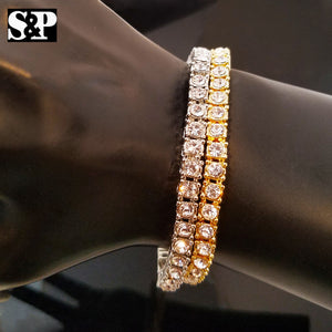 BEST SELLING HIP HOP QUAVO GOLD, SILVER FINISH 1 ROW TENNIS CHAIN BRACELET
