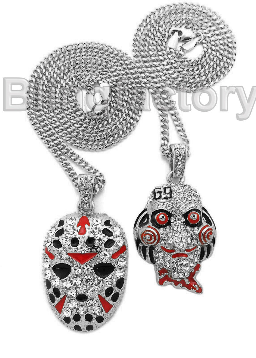 "Iced Out Saw Inspired & Slaughter Gang Pendant & 20"" 24"" Cuban Chain Necklace"