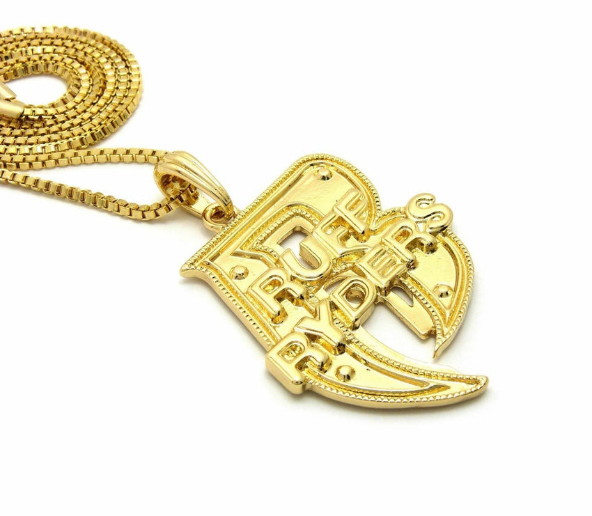 "Hip Hop Gold plated Rapper's Ruff Ryder R Pendant & 24"" Box Chain Necklace"