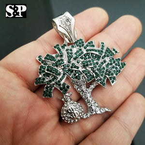 ICED WHITE GOLD PT LAB DIAMONDS DOLLAR MONEY BAG TREE PENDANT CHARM