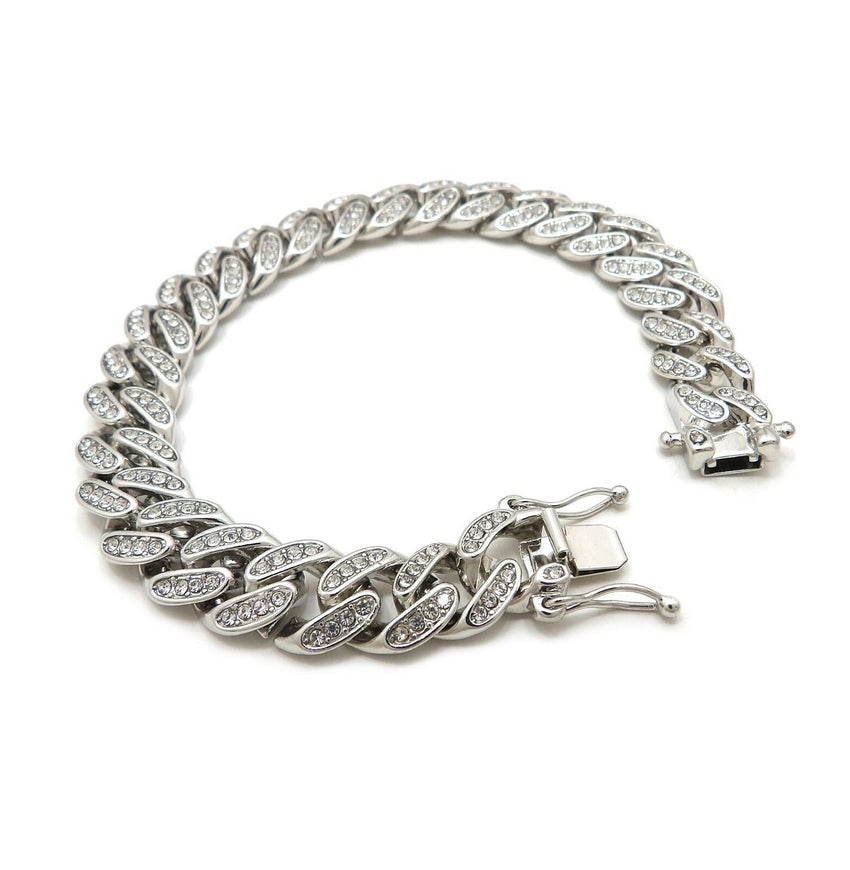 "Hip Hop Fashion Bling Silver Plated 12mm 8.5"" Iced Box Lock Cuban Bracelet"