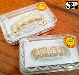 Gold Plated BRASS Hip Hop Iced Gold Tone Teeth Grillz Fang Top & Bottom Set