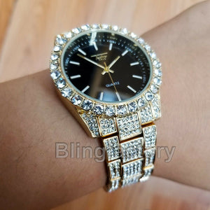 Men's Hip Hop Full Iced out Bling Gold PT Rapper Bling Lab Diamond Metal Watch