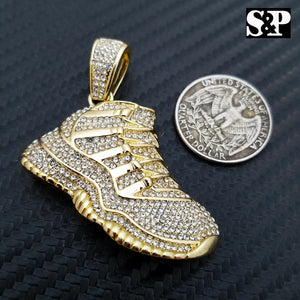 Men's Iced out 14K Gold Plated Hip Hop Lab Diamonds Retro 11 Shoe Pendant