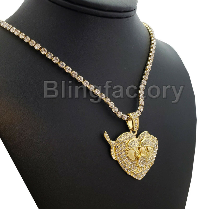 Hip Hop Chief Keef Thot Breaker & 1 Row Diamond Tennis Choker Chain Necklace