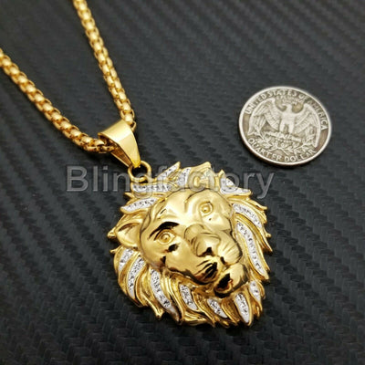 Stainless Steel Gold PT Lion Head Pendant & 3mm 24