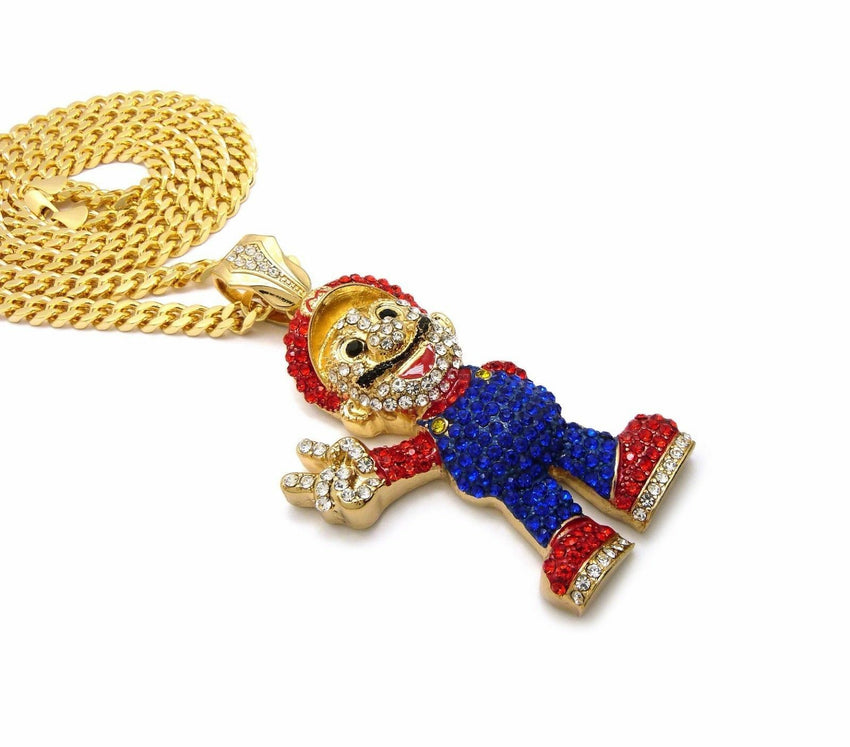 "ICED OUT LAB DIAMONDS MARIO PENDANT & 6mm 30"" BOX CUBAN CHAIN HIP HOP NECKLACE"