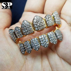 Gold Plated BRASS Hip Hop Iced Out Two Tone Teeth Grillz Fang Top & Bottom Set