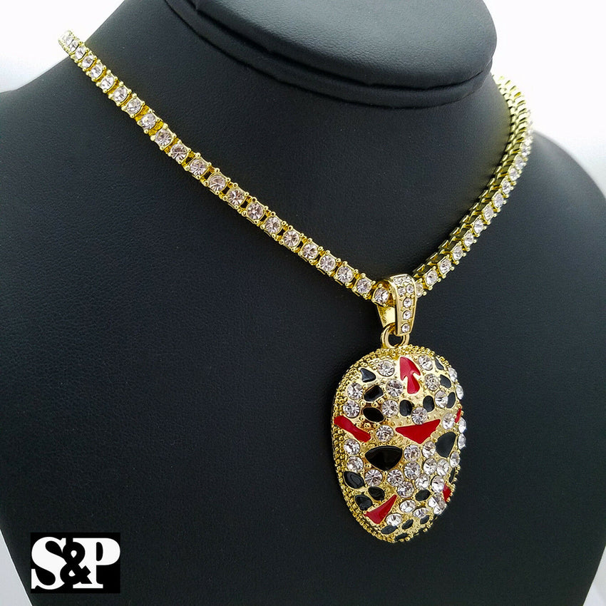 "Hip Hop Slaughter Gang Pendant & 18"" Full Iced 1 Row Diamond Tennis Choker Chain"