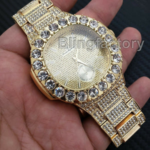 Men's Luxury Hip Hop Gold finished Rapper's Bling Metal Band Big CZ Bezel Watch