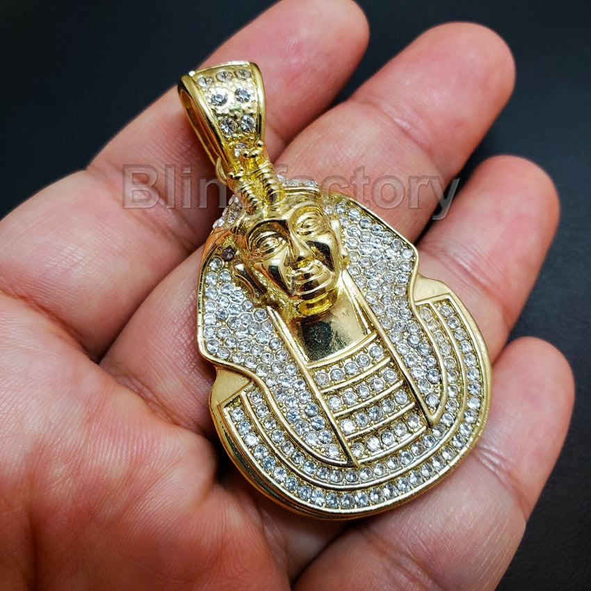HIP HOP ICED OUT LAB DIAMOND GOLD PLATED RAPPER'S EGYPT KING PHARAOH PENDANT