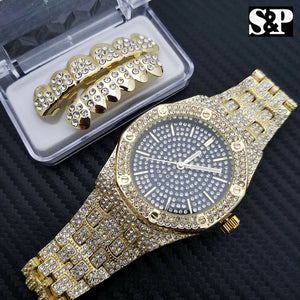 HIP HOP MEN ICED OUT LAB DIAMOND WATCH & ICED OUT GOLD PT GRILLZ COMBO GIFT SET