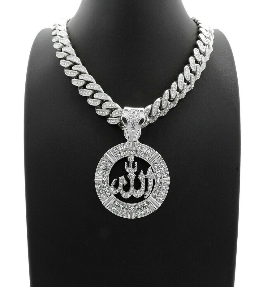 "Hip Hop Allah Pendant & 12mm 18"" Full Iced out Cuban Link Choker Chain Necklace"