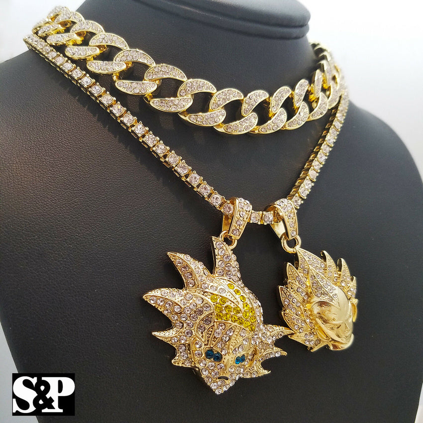 "SON GOKU, VEGETA pendant w/ 18"" Full Iced Cuban & 1 ROW DIAMOND Choker Chain Set"