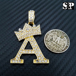 HIP HOP ICED OUT LAB DIAMOND GOLD PLATED ALPHABET INITIAL