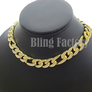 Hip Hop Men Quavo Rapper Gold PT Iced Out 12mm 18