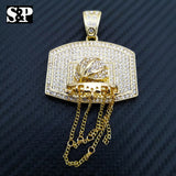 "New Basketball Net Pendant & 16"" Full Iced 1 Row Diamond Tennis Choker Chain Set"