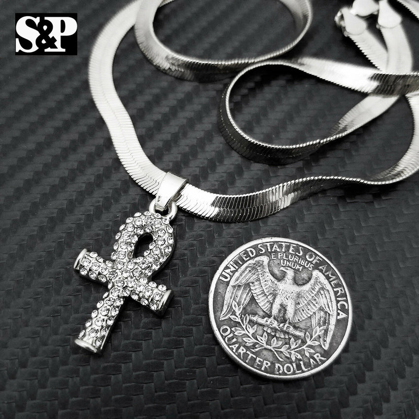 "Unisex Hip Hop Iced Out Ankh Pendant, 5mm 20"" Herringbone Choker Chain Necklace"