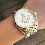 Iced out Hip Hop Freemason Masonic Dial 14K Gold plated Metal Band Wrist Watch