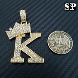 "Hip Hop Initial K Pendant & 18"" Full Iced 1 ROW DIAMOND Tennis Choker Chain Necklace"