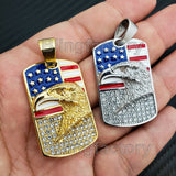 Iced out Stainless steel American Flag Eagle Dog Tag Gold & Silver Tone Pendant