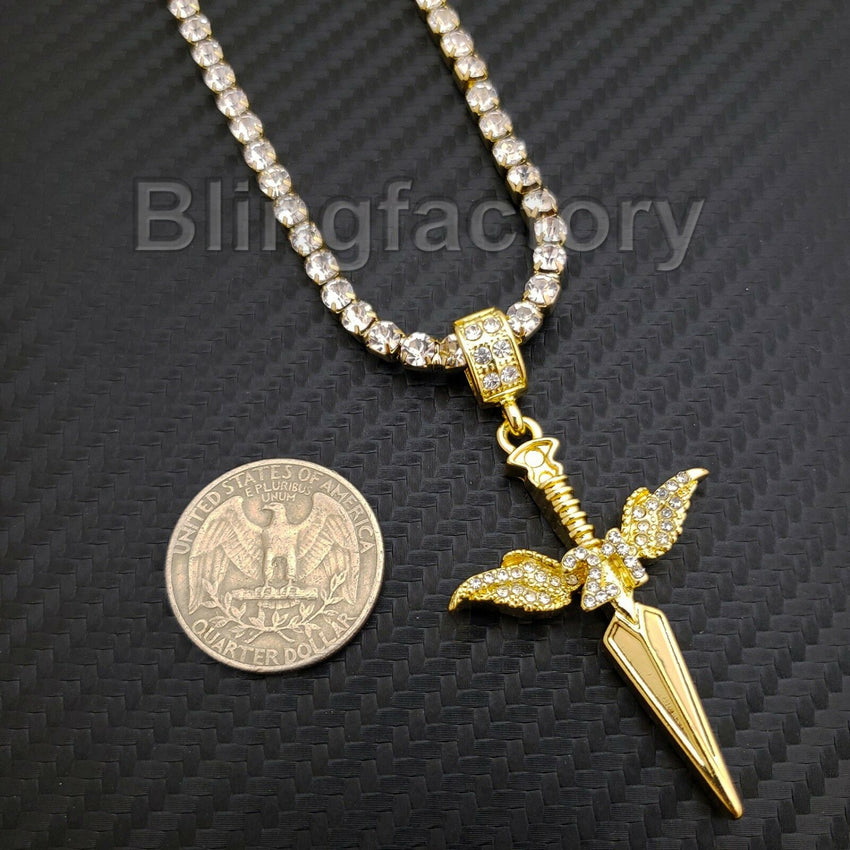 Hip Hop SAVAGE 21 SWORD Pendant & 1 Row Diamond Tennis Choker Chain Necklace