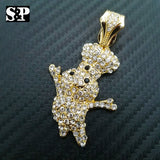 HIP HOP ICED OUT LAB DIAMOND 14K GOLD PLATED RAPPER'S BLING SMALL DOUGHBOY PENDANT