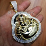 HIP HOP BLING ICED OUT GOLD PT BRASS MICRO PAVE LARGE HAPPY BUDDHA PENDANT