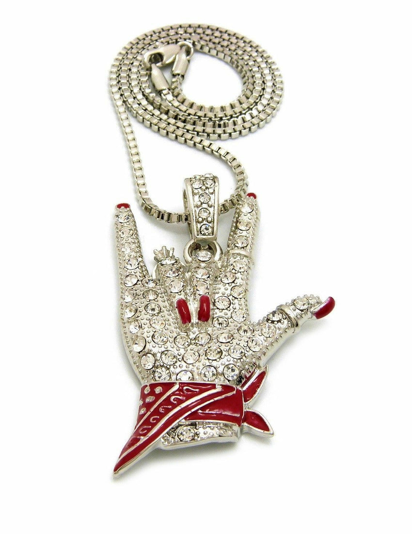 "Women's Cardi B I Love You Hand Sign Pendant & 24"" Box, Cuban Chain Necklace"