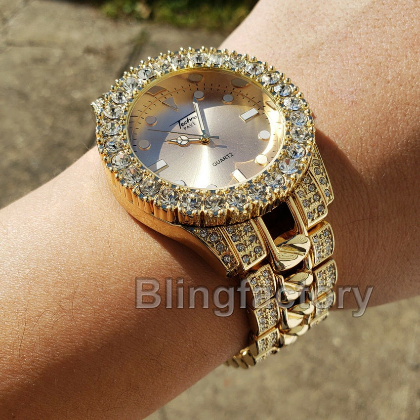 Men Hip Hop Iced out Bling Gold PT Rapper's Bling BIG Simulated Diamond Watch