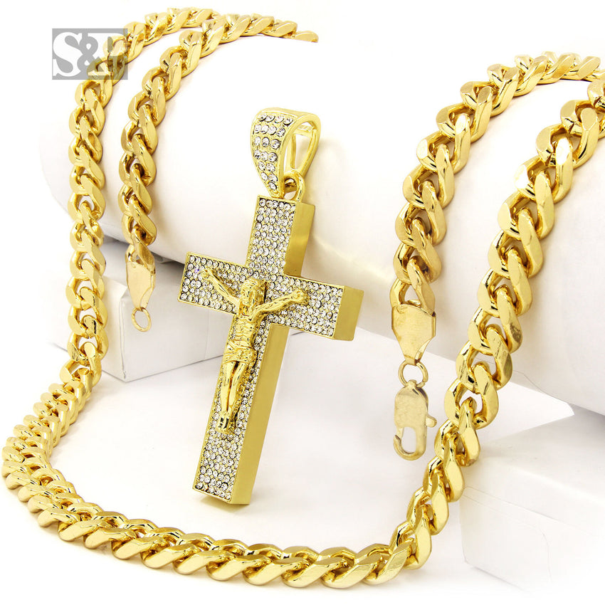 8177d67f0f696 Hip Hop Men Iced Out 14k Gold Plated Jesus Big Cross Cz Pendant, 30