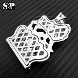 FULL ICED HIP HOP RAPPER'S WHITE GOLD PLATED LION KING CROWN PENDANT
