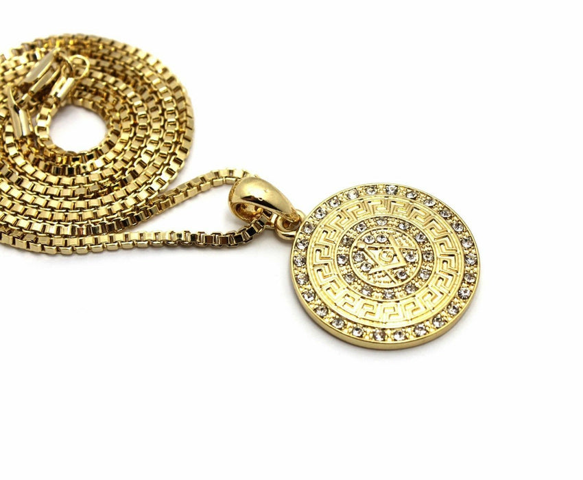"Iced Out Gold PT FREEMASON Masonic Pendant & 2mm 24"" Box Chain Hip Hop Necklace"