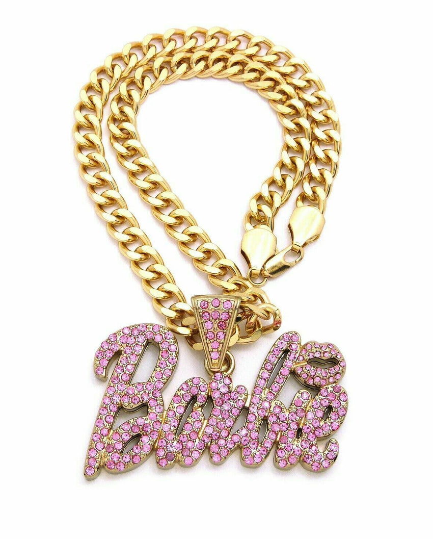 "ICED OUT NICKI MINAJ PINK BARBIE PENDANT & 10mm 18"" CUBAN CHOKER CHAIN NECKLACE"